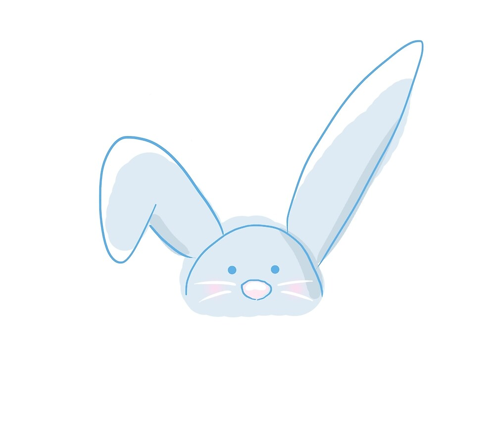 Cute Blue Bunny Rabbit by pigment
