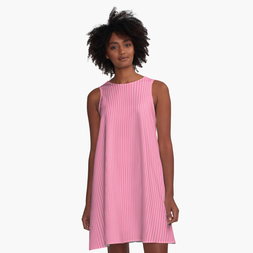 Pink with White pinstripes A-Line Dress Front