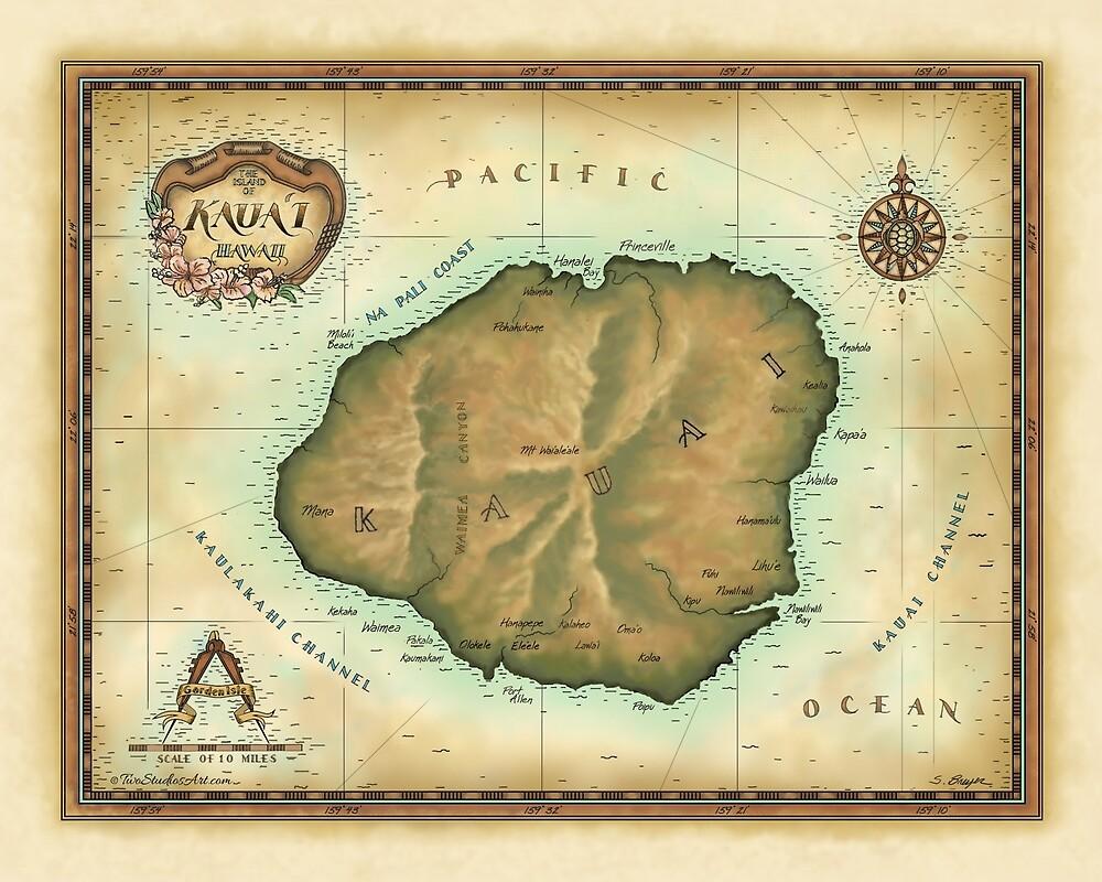 Kauai map by Steve Breyer