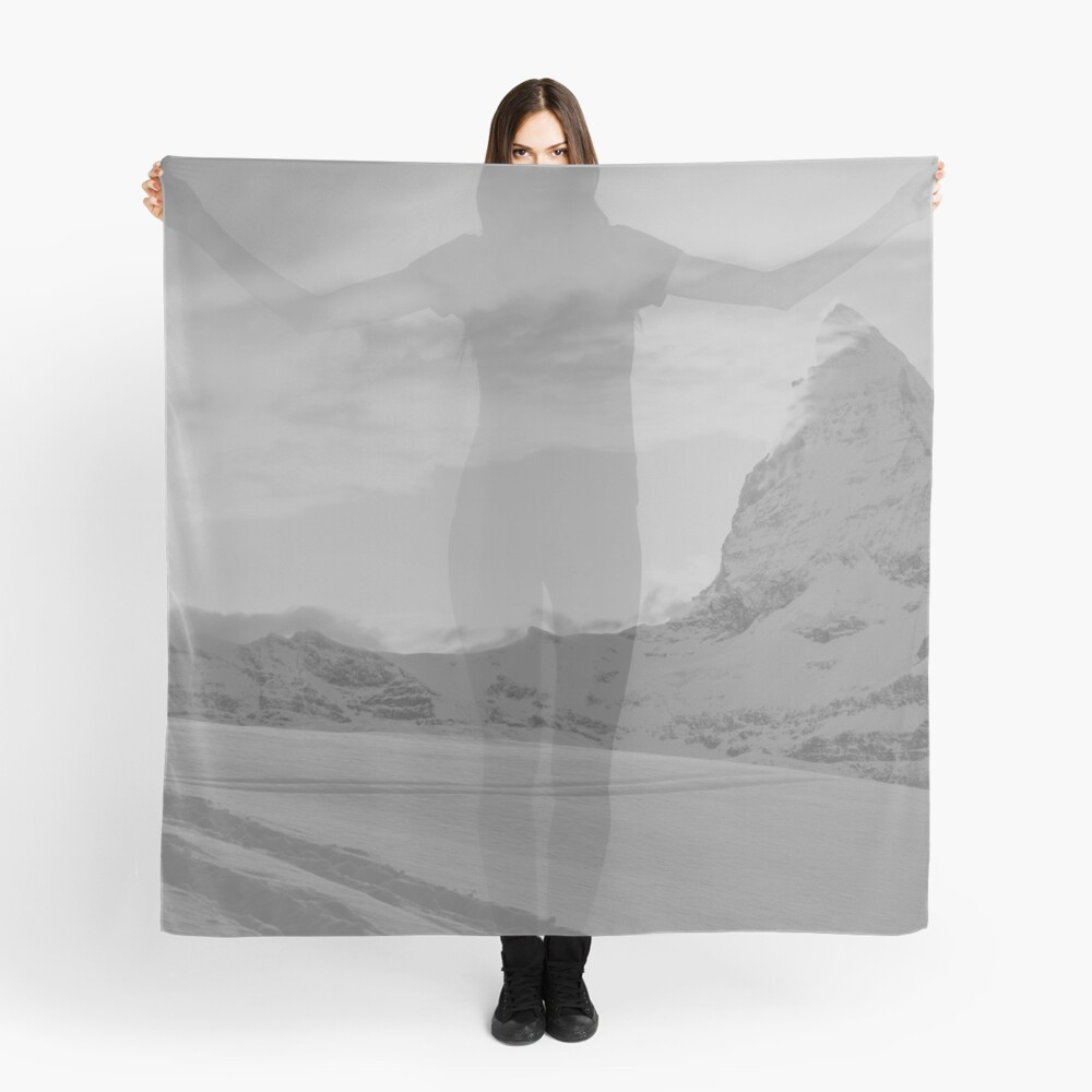 Snow landscape in gray Scarf Front