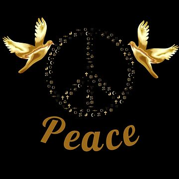 Peace Sign with Doves Gold on Black by Atkisson