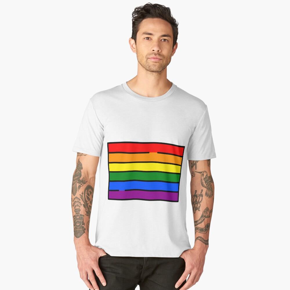 LGBT FLAG PRIDE LOVE IS LOVE GAY COMMUNITY Men's Premium T-Shirt Front