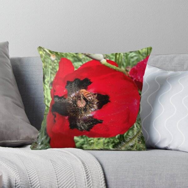 Poppy and Bee from A Gardener's Notebook Throw Pillow
