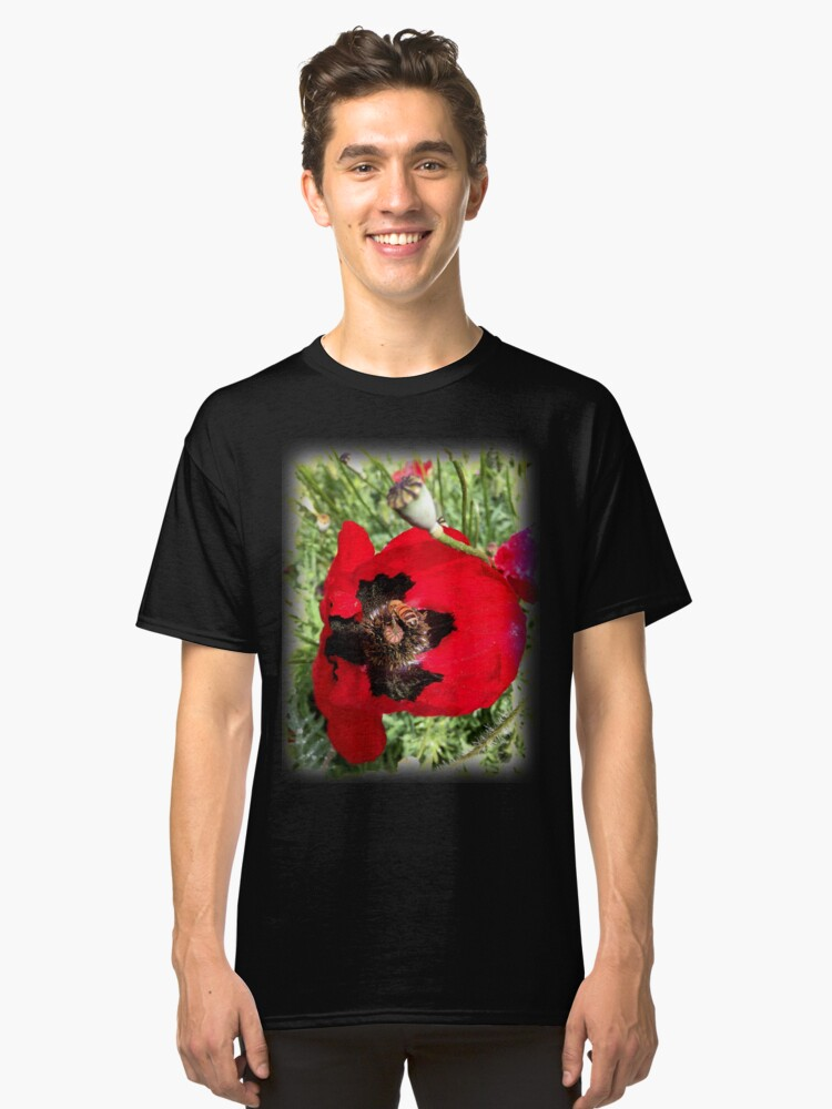 Alternate view of Poppy and Bee from A Gardener's Notebook Classic T-Shirt