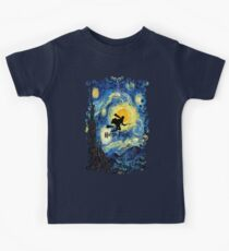 Halloween Flying Young Wizzard with broom Kids Tee