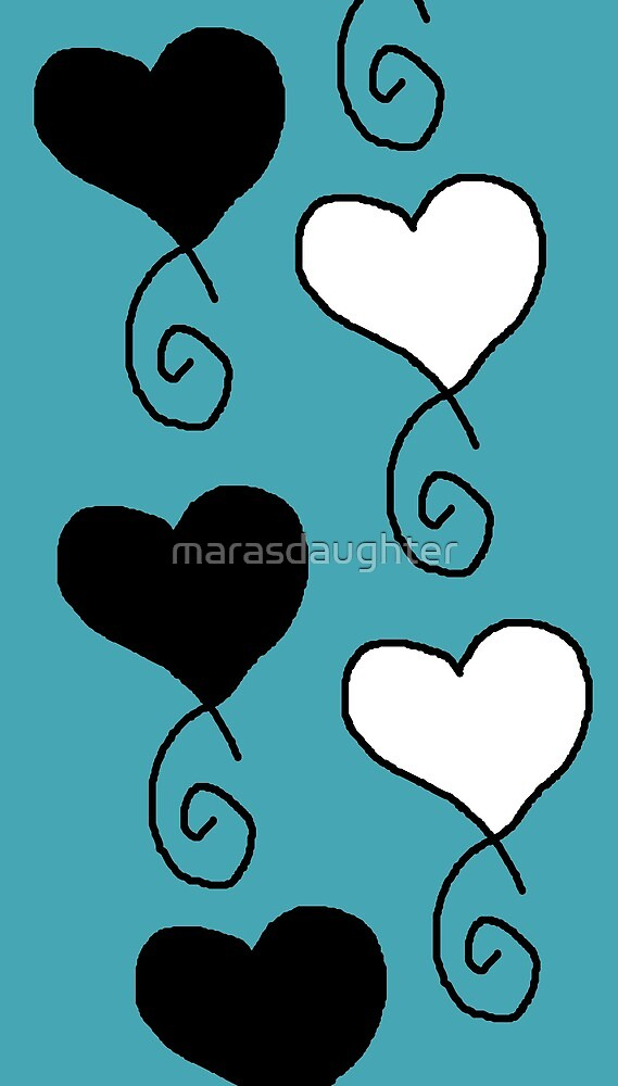 black and white hearts on turquoise by marasdaughter