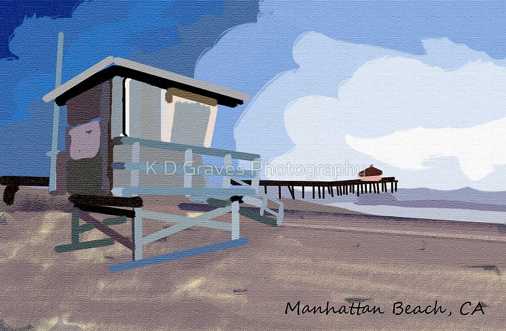 Manhattan Beach Textured Print and More by K D Graves Photography