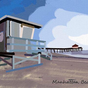 Manhattan Beach Textured Print and More by DianaG