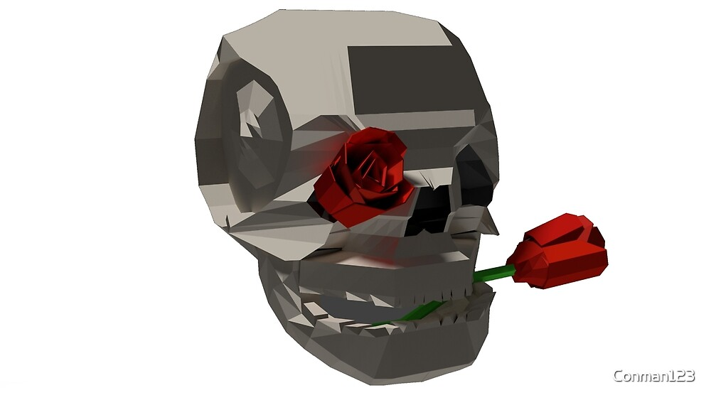Skull and roses - low poly by Conman123