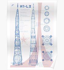 N1-L3 ROCKET PLÄNE Russische Rakete Blaupause sowjetischen Mond Rakete UdSSR Poster