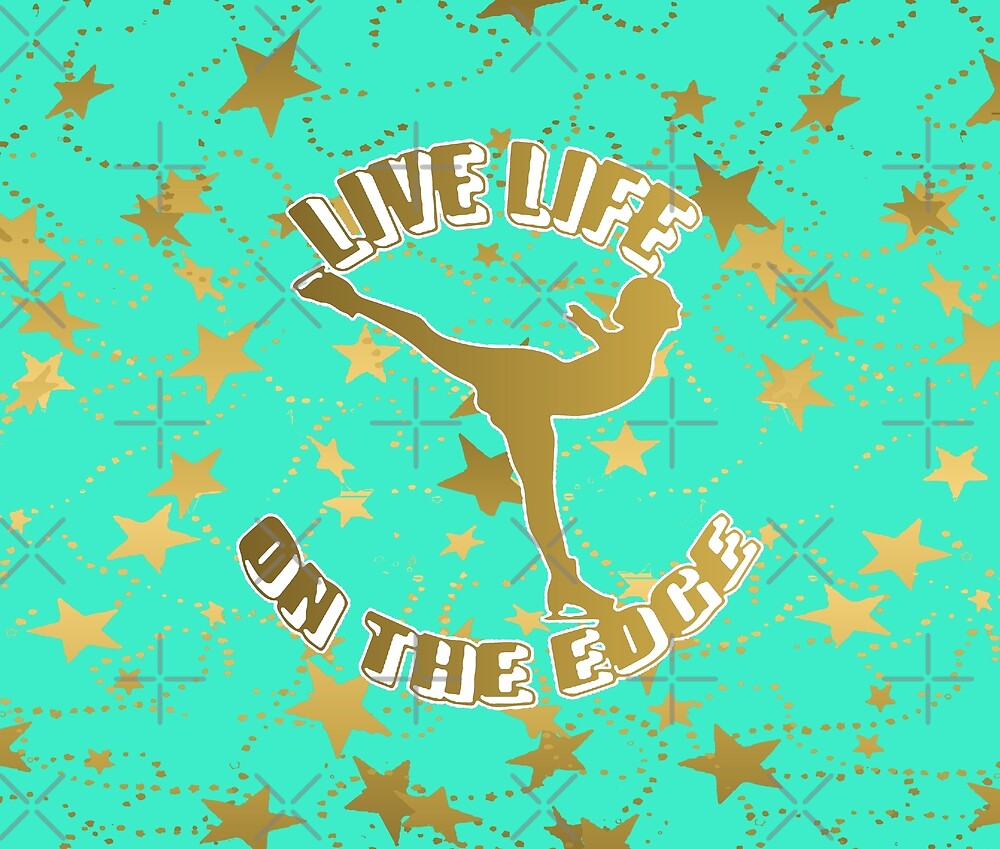 Figure Skating Live Your Life on the Edge in a Aqua and Gold Motif with Stars Design by PurposelyDesign