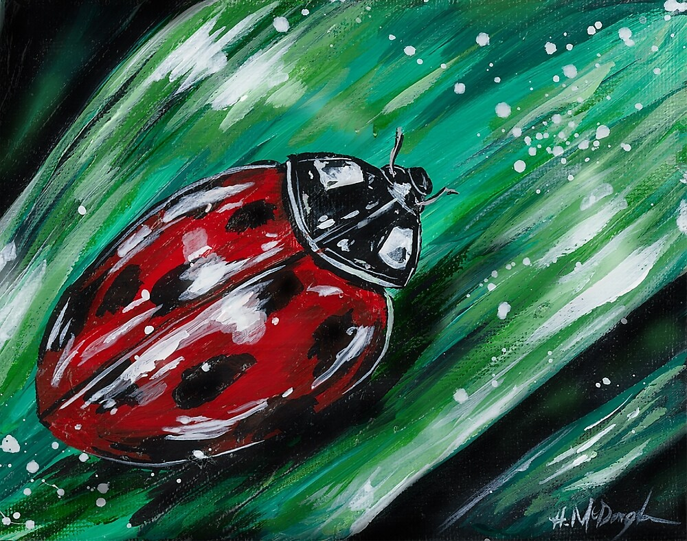 Lady in Red- Neon Lady Bug by Heather McDonough