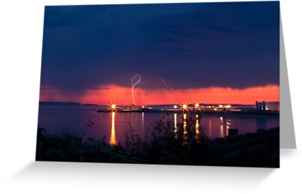 Lightening at Sunset by Barb White