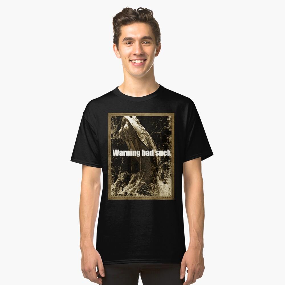 Mens Warning Bad Snek T-Shirt   Snake Meme Snek T-Shirt Classic T-Shirt Front
