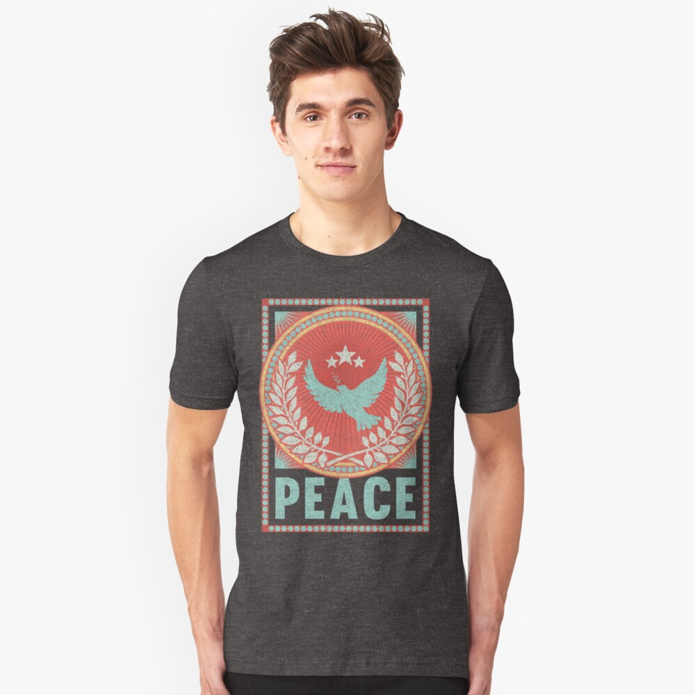 Vintage Peace Poster with Retro Distressed Fabric Texture Unisex T-Shirt Front