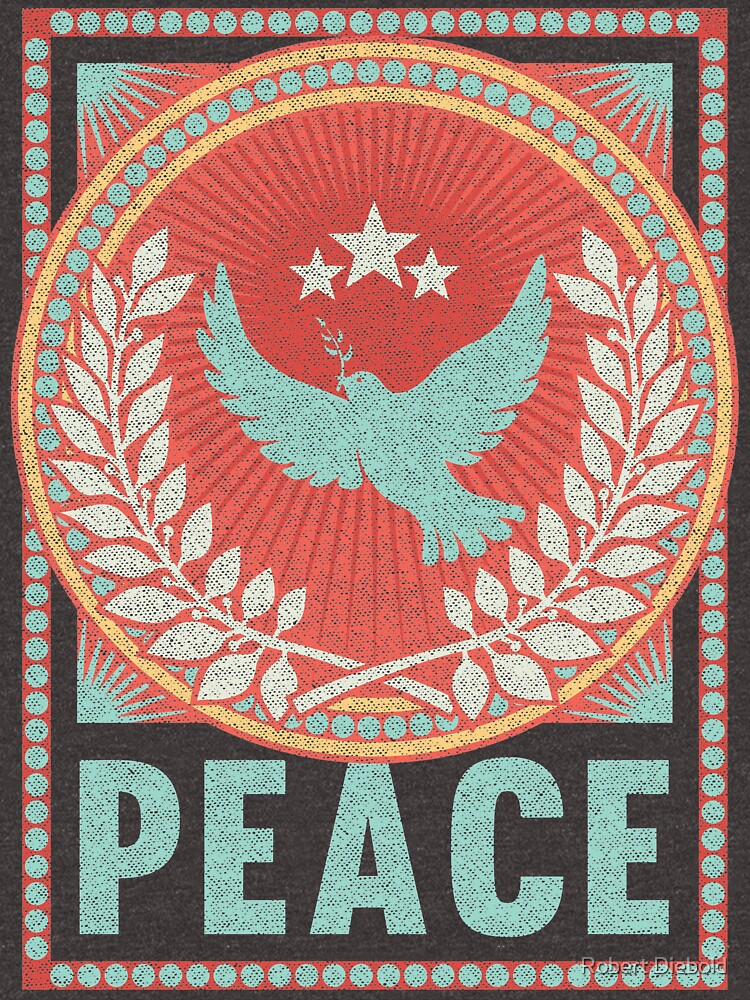 Vintage Peace Poster with Retro Distressed Fabric Texture by manbird
