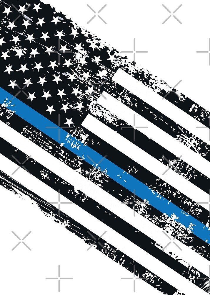 USA Flag The thin blue line I back the blue USA MAGA Law Enforcement and policemen Grunge style with angle on black background by iresist