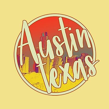 Retro Austin Texas with Skyline Sticker by orylinapparel