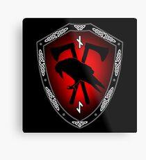 VIKING SHIELD 14 Raven with (NAUTHIZ – Self-Reliance, Endurance, Survival, (EIHWAZ - Yew Tree – Strength, Reliability, Trustworthiness) Metal Print