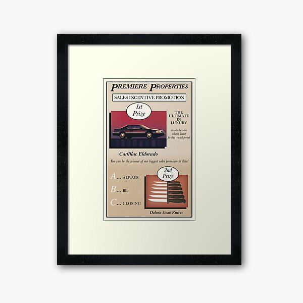 Glengarry Glen Ross Sales Poster Framed Art Print