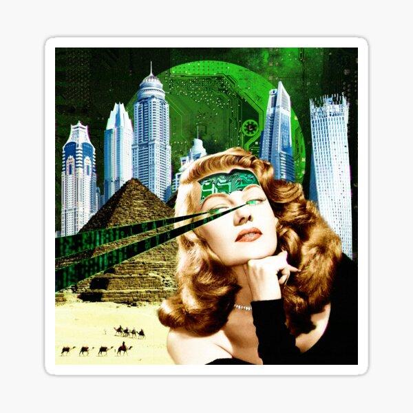 Surreal Futuristic City Woman Sticker