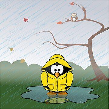 Penguin in the Autumn Rain  by mochachip