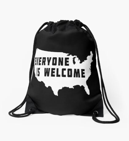 USA Everyone Is Welcome Drawstring Bag