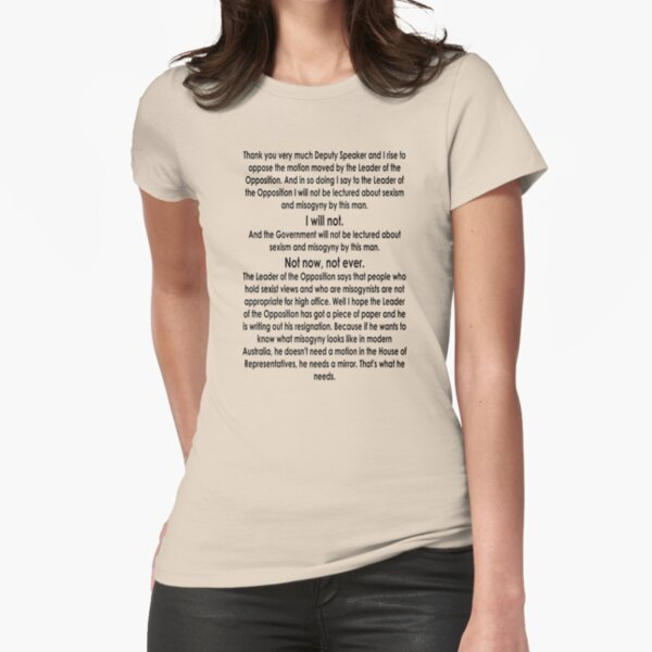 Julia Gillard Misogyny Speech  Fitted T-Shirt