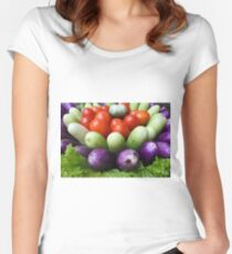 fresh raw vegetables  Women's Fitted Scoop T-Shirt