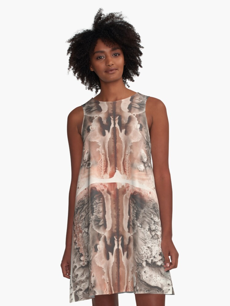 brown Rorschach test, watercolor, monotype, abstract colorful symmetric painting A-Line Dress Front