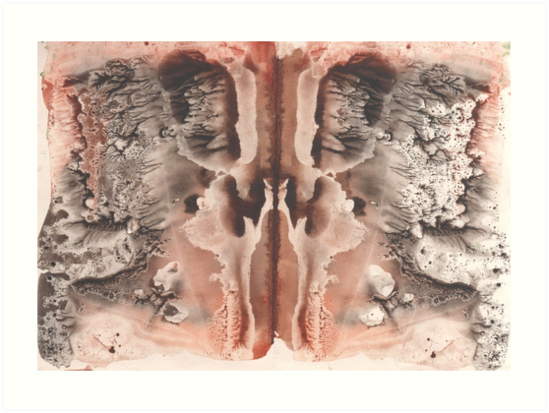 brown Rorschach test, watercolor, monotype, abstract colorful symmetric painting by EkaterinaP