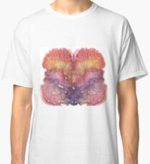 pink Rorschach test, watercolor, monotype, abstract colorful symmetric painting Classic T-Shirt