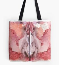 pink Rorschach test, watercolor, monotype, abstract colorful symmetric painting  Tote Bag