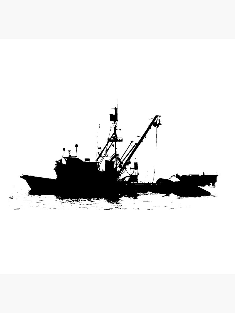 Fishing Boat Silhouette Black On White Color Background Tote Bag By Douglasewelch Redbubble