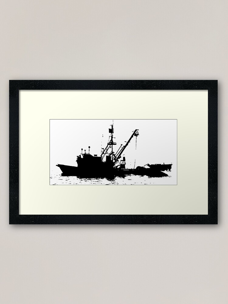 Fishing Boat Silhouette Black On White Color Background Framed Art Print By Douglasewelch Redbubble
