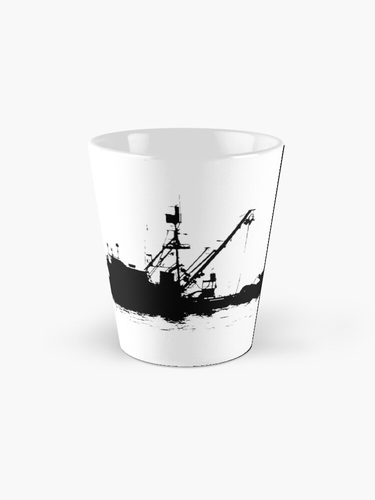 Alternate view of Fishing Boat Silhouette - Black on White/Color Background Mug