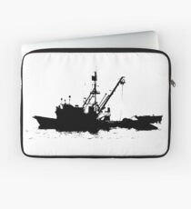 Fishing Boat Silhouette - Black on White/Color Background Laptop Sleeve