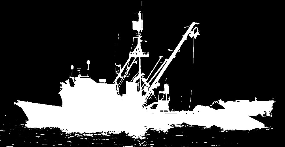 Fishing Boat Silhouette - White on Black/Color Background by Douglas E.  Welch
