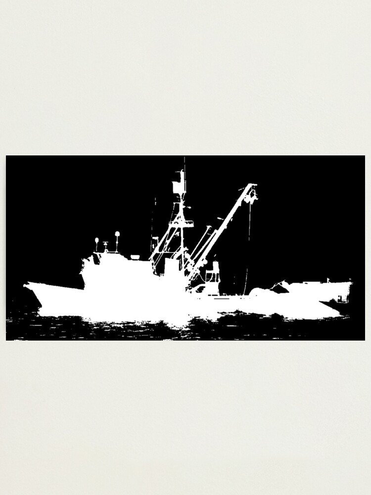 Fishing Boat Silhouette White On Black Color Background Photographic Print By Douglasewelch Redbubble