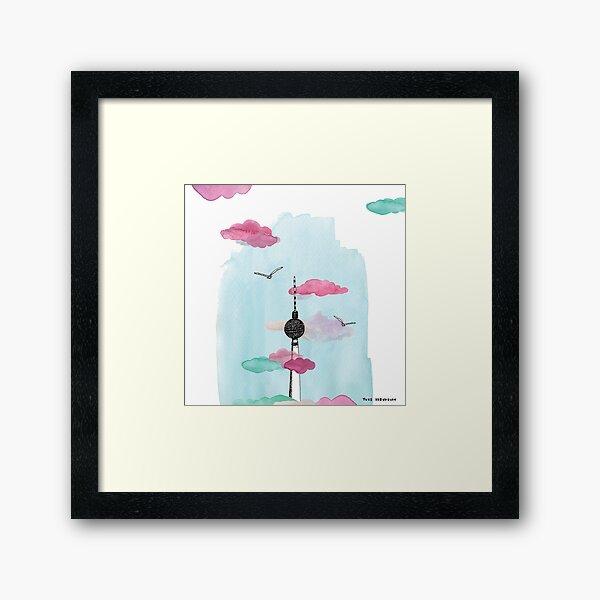 Berlin TV Tower - Yves Kervoelen - Soft watercolored view Framed Art Print