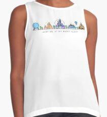 Meet me at my Happy Place Vector Orlando Theme Park Illustration Design Sleeveless Top