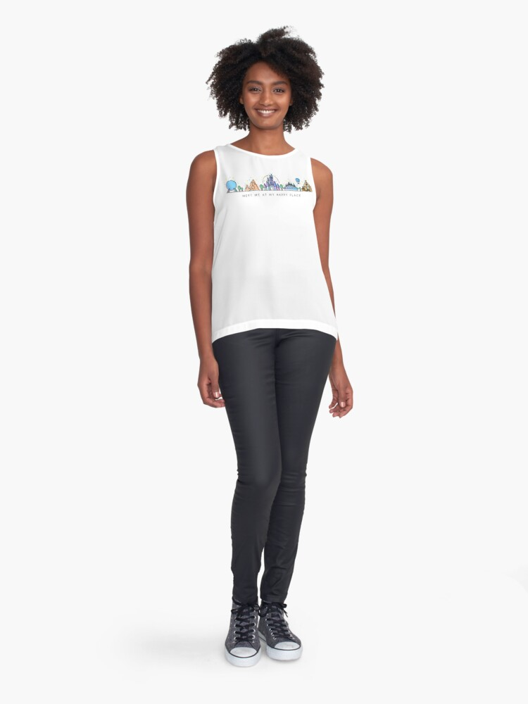 Alternate view of Meet me at my Happy Place Vector Orlando Theme Park Illustration Design Sleeveless Top