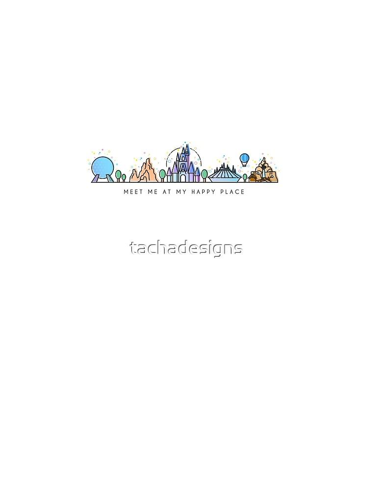Treffen Sie mich bei meinem glücklichen Platz-Vektor-Orlando-Freizeitpark-Illustrations-Design von tachadesigns