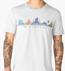 Camiseta premium para hombre Encuéntreme en mi lugar feliz Vector Orlando Theme Park Illustration Design