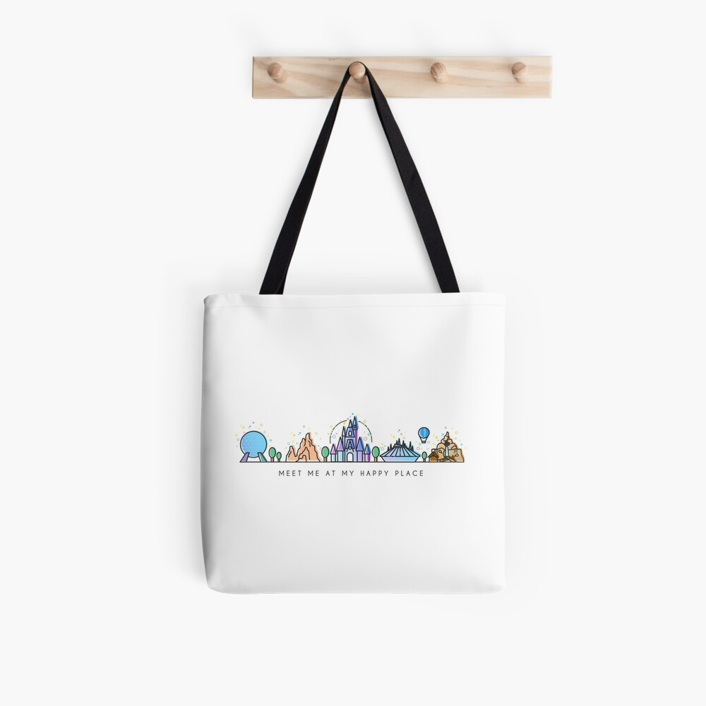 Meet me at my Happy Place Vector Orlando Theme Park Illustration Design Tote Bag