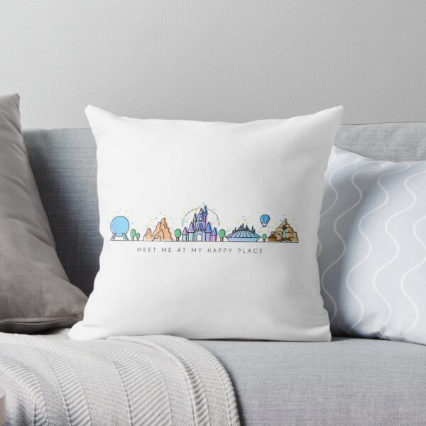 Meet me at my Happy Place Vector Orlando Theme Park Illustration Design Throw Pillow