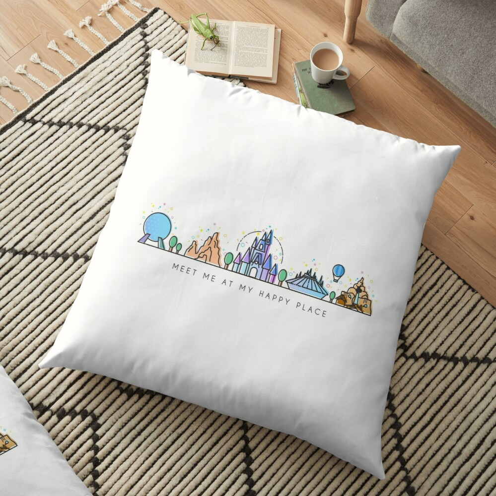 Meet me at my Happy Place Vector Orlando Theme Park Illustration Design Floor Pillow
