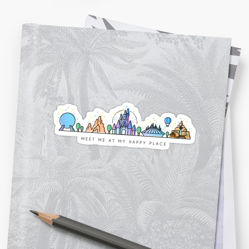 Meet me at my Happy Place Vector Orlando Theme Park Illustration Design Sticker
