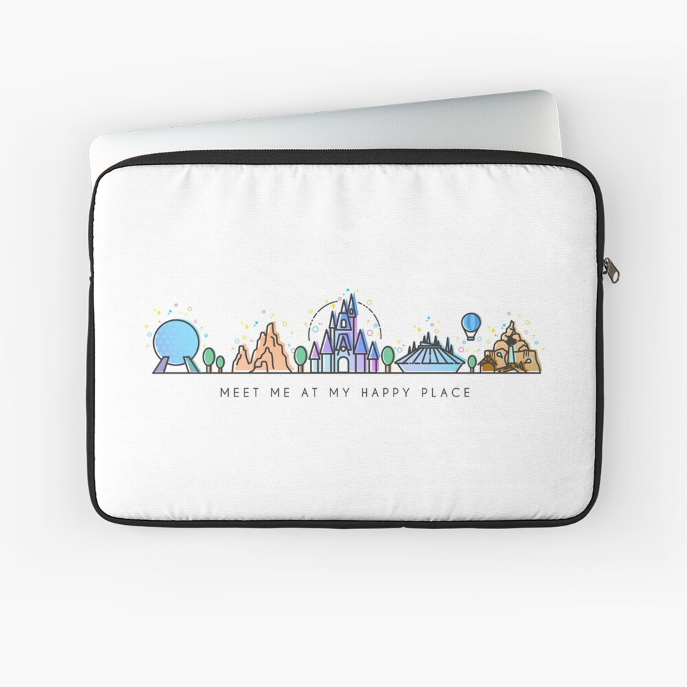 Meet me at my Happy Place Vector Orlando Theme Park Illustration Design Laptop Sleeve Front