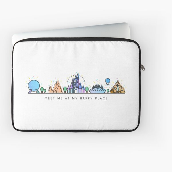 Meet me at my Happy Place Vector Orlando Theme Park Illustration Design Laptop Sleeve